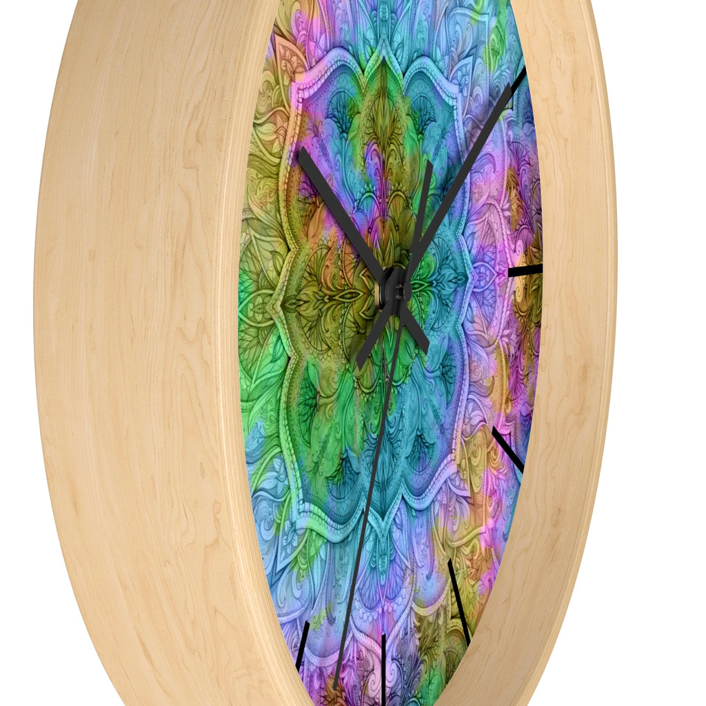 Cool Tie Dye Blossom Wall clock – The Other Side Textiles