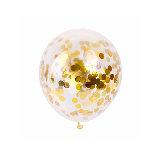 Clear Balloons with Gold Confetti