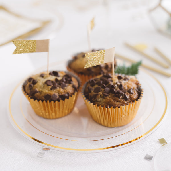 Gold Cupcake Flags