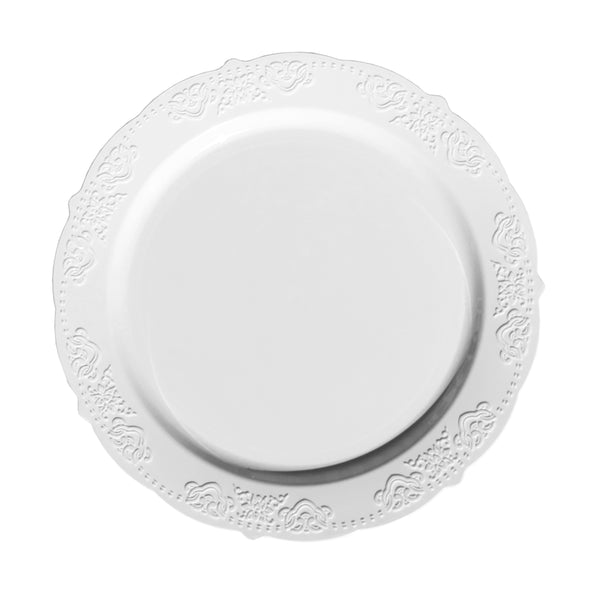 Vintage Patterned White Dinner Plates
