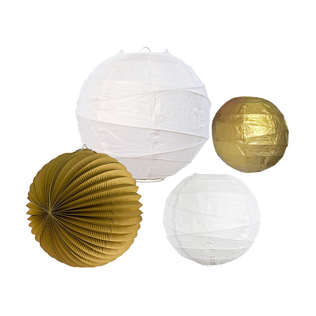 Gold/White Paper Lantern Set