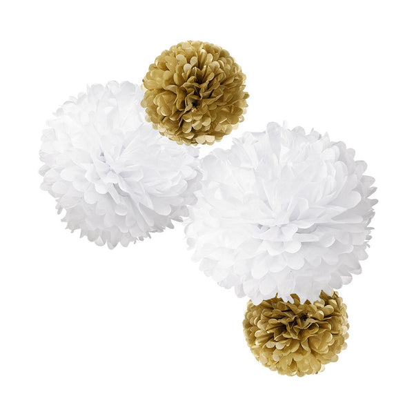 Gold/White Paper Pom Pom Set