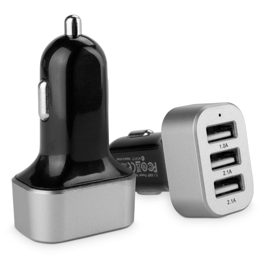 3-Port Micro High Current Car Charger - HTC One (E8) Car Charger