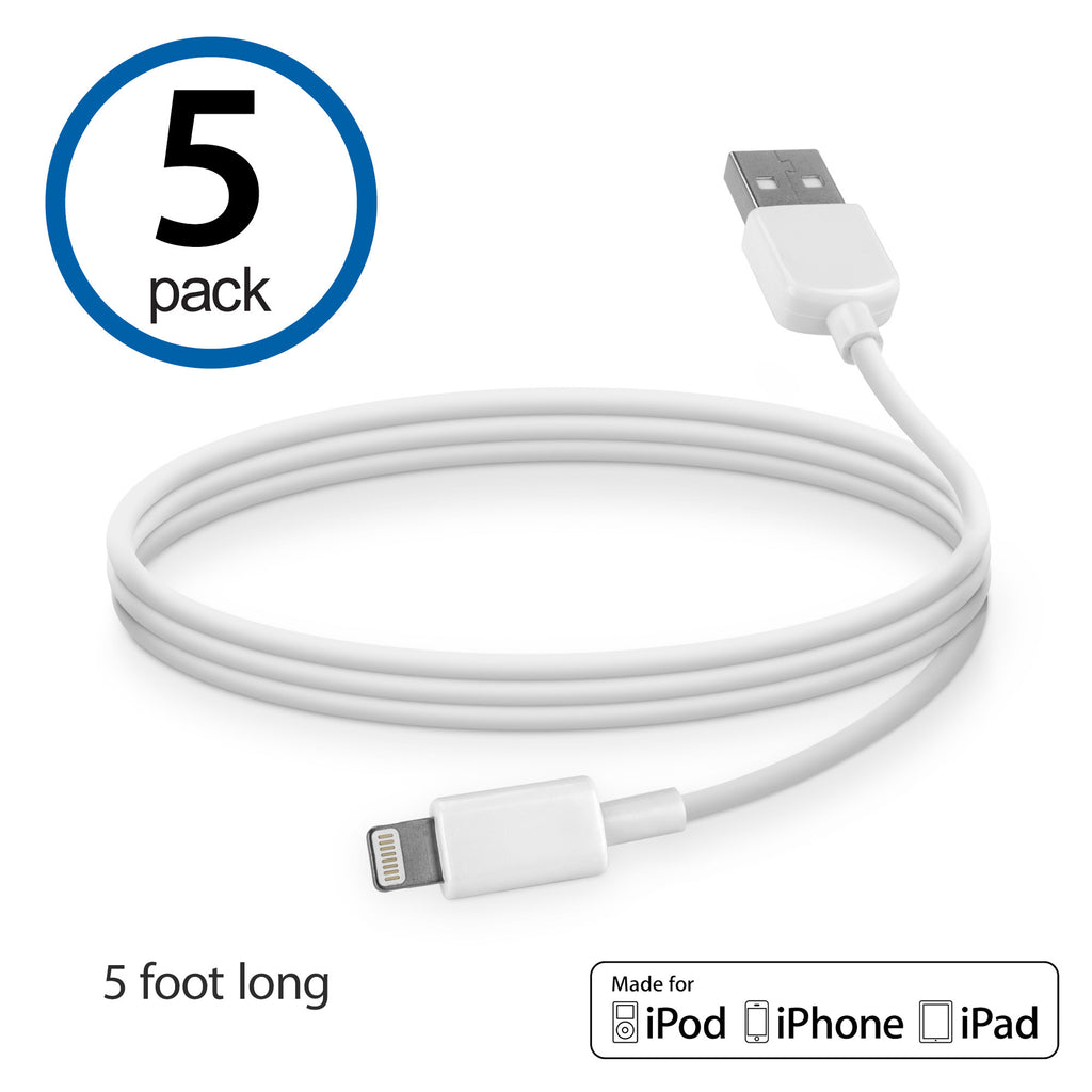 USB Lightning Cable (5-Pack) - Apple iPhone 4S Cable
