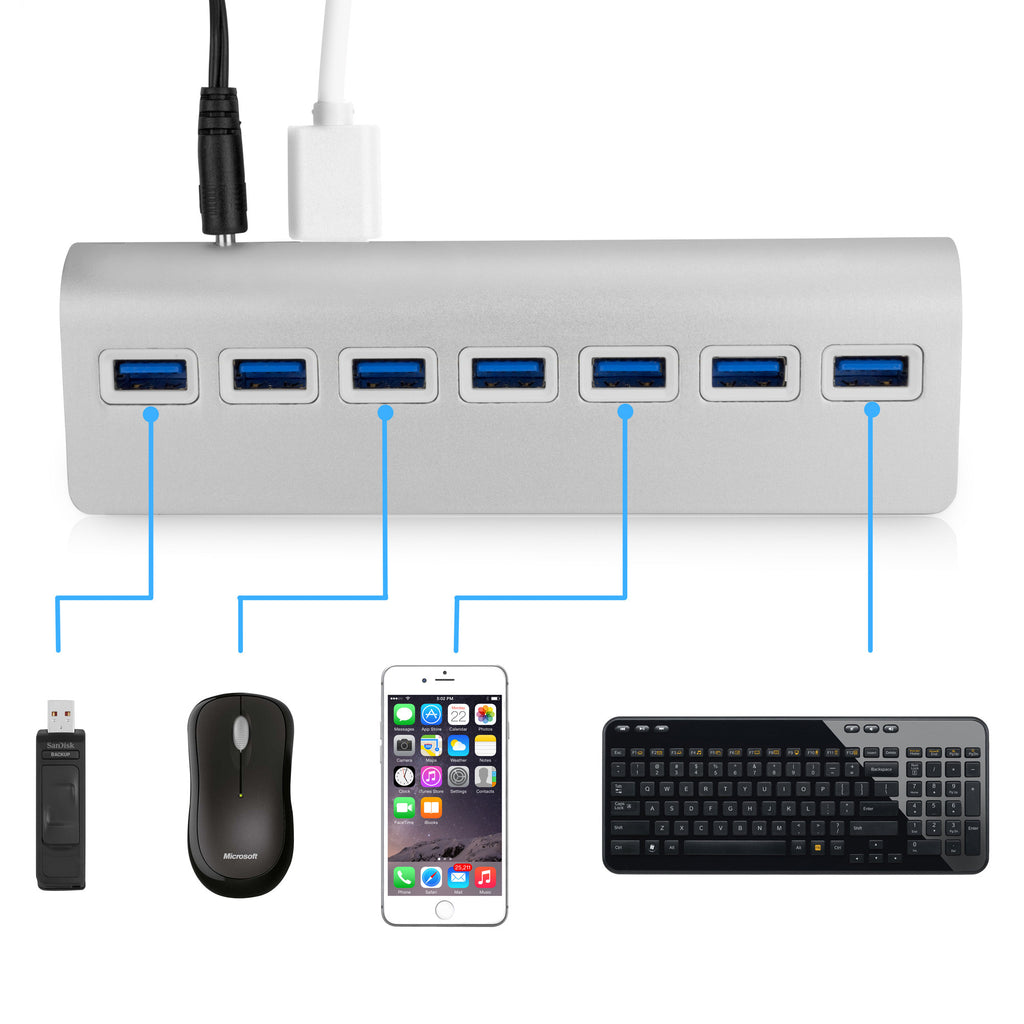 Universal Minimus Brushed Aluminum USB-C Hub - 7-Port