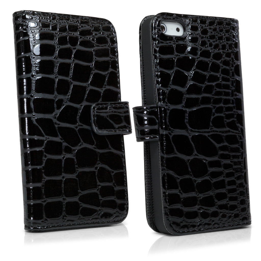 Patent Leather Crocodile Wallet - Apple iPhone 5 Case