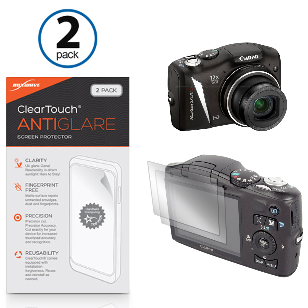 ClearTouch Anti-Glare (2-Pack) - Canon PowerShot SX130 IS Screen Protector