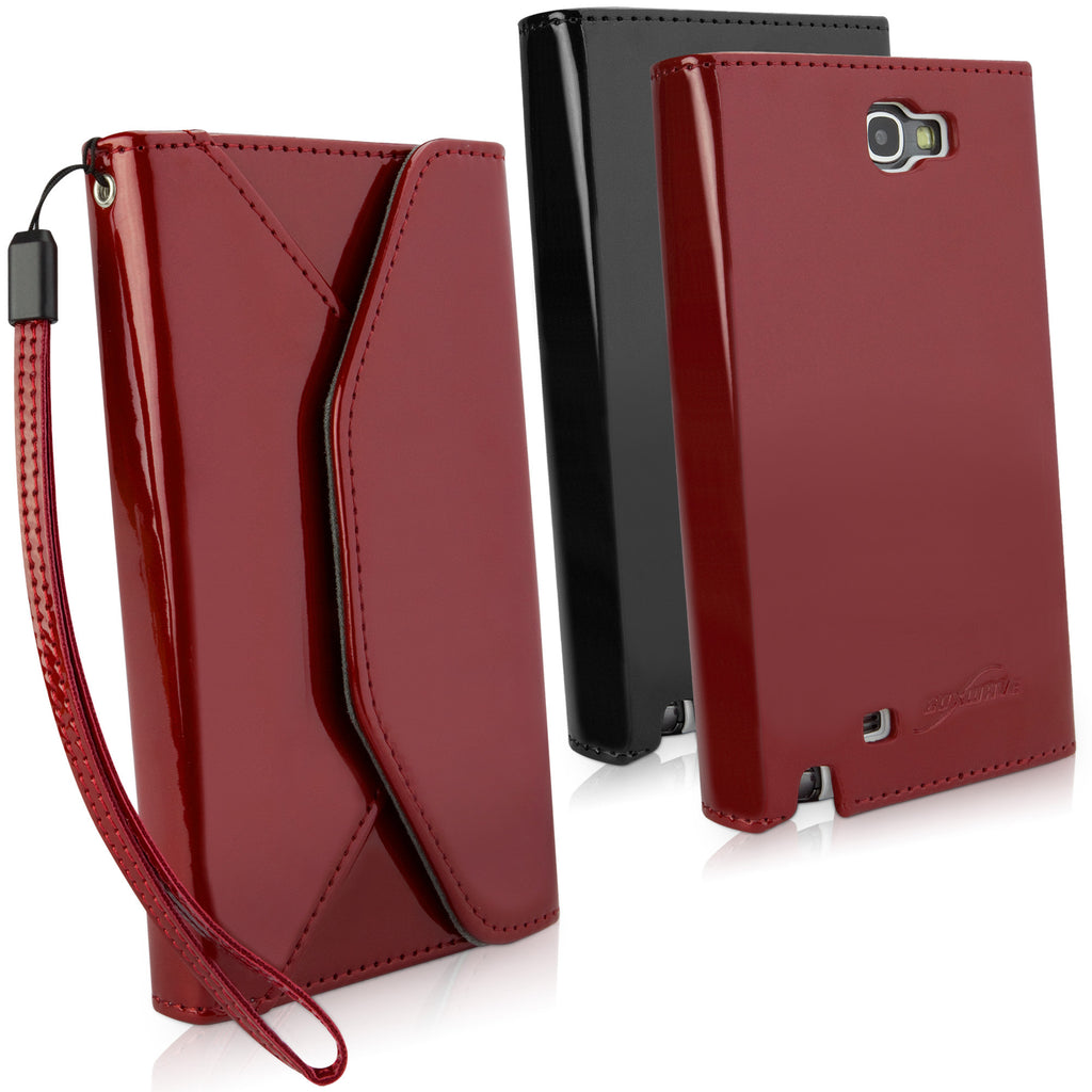 Patent Leather Wallet Case - Samsung Galaxy Note 2 Case