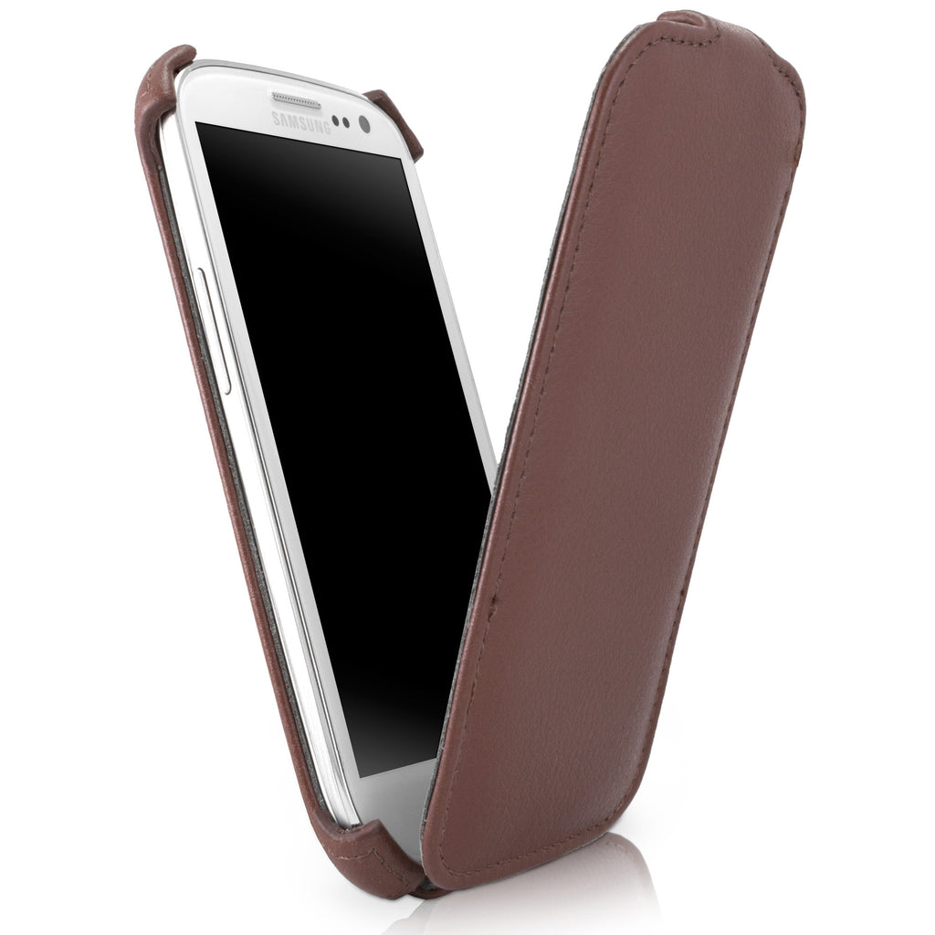 Classic Brown Leather Flip Case - Samsung Galaxy S3 Case