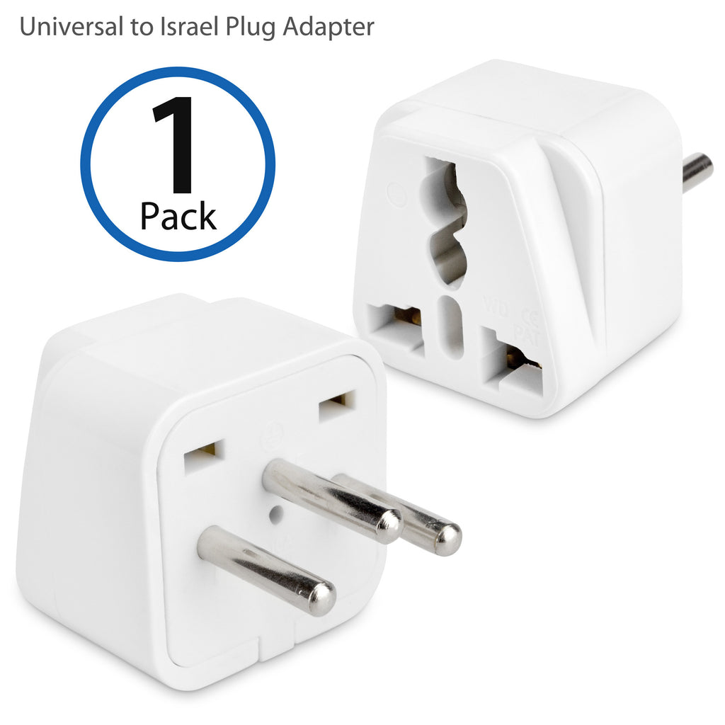 Universal to Israel Plug Adapter - With Ground Pin