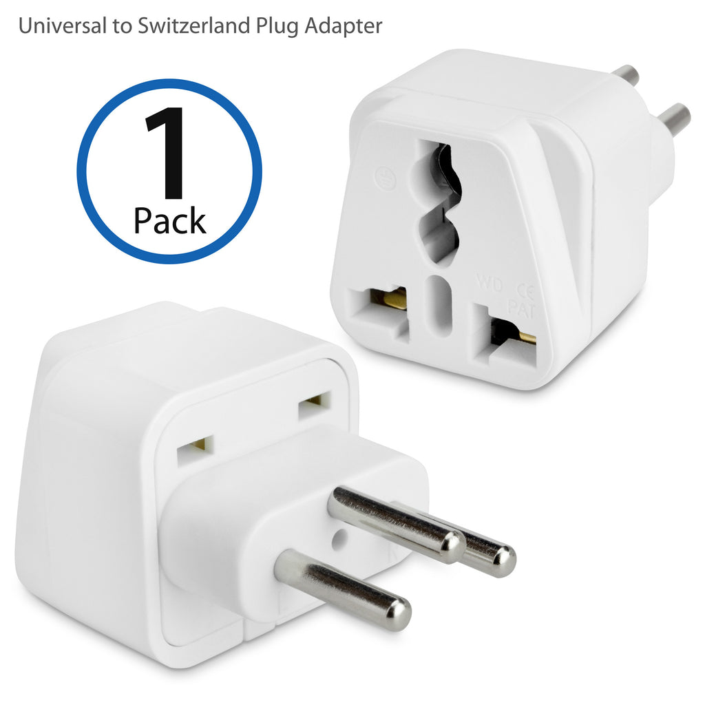 Universal to Switzerland Plug Adapter - With Ground Pin