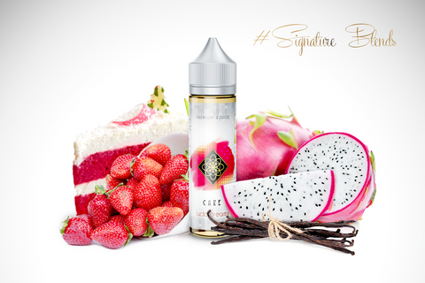 LUCID DREAMS - CAKE - Signatureblends.ca - Dark red velvet and vanilla bean topped off with fresh ripe strawberries, dragon fruit and raspberries.