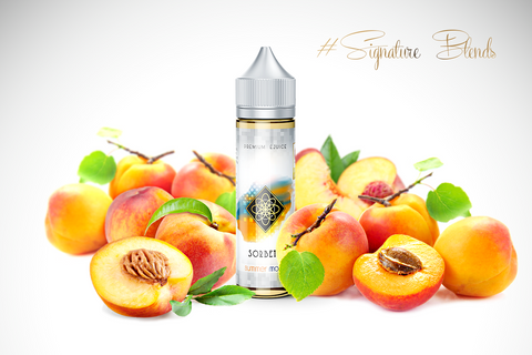 SUMMER MOON - Sorbet - Signatureblends.ca A perfect blend of Blenheim slip-pit apricots infused with fresh, juicy peaches complimented with a vanilla bean undertone.