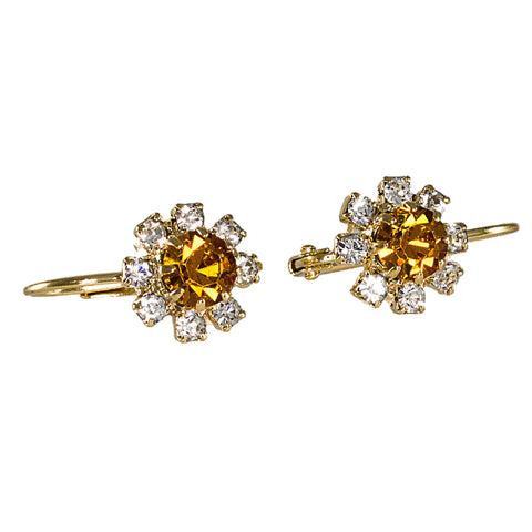 Flower Crystal Earrings. AMBER, 0429903