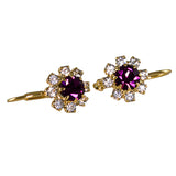 Flower Crystal Earrings. PURPLE, 0429903