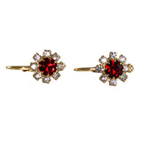 Flower Crystal Earrings. RED, 0429903
