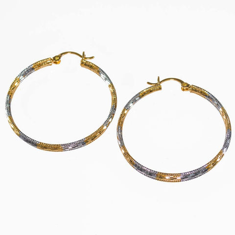 Triple Tone Gold-Filled Hoop 216233