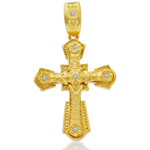 Elaborate Cross with Crystals Charm