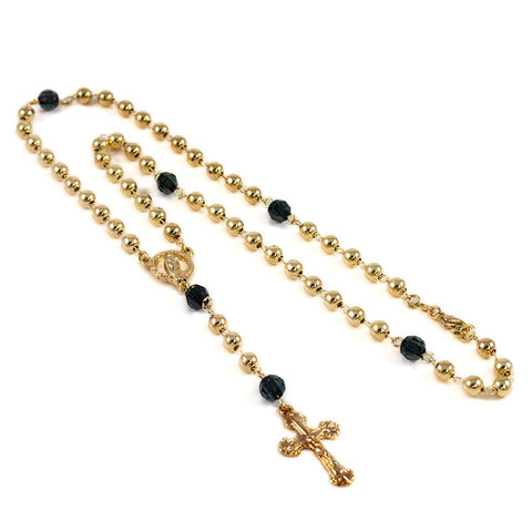 Rosary with Black Beads #GRMR-09