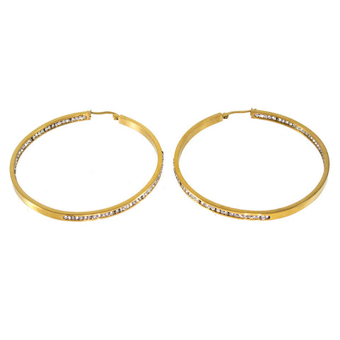 Yellow Gold Stainless Steel Hoops E-303