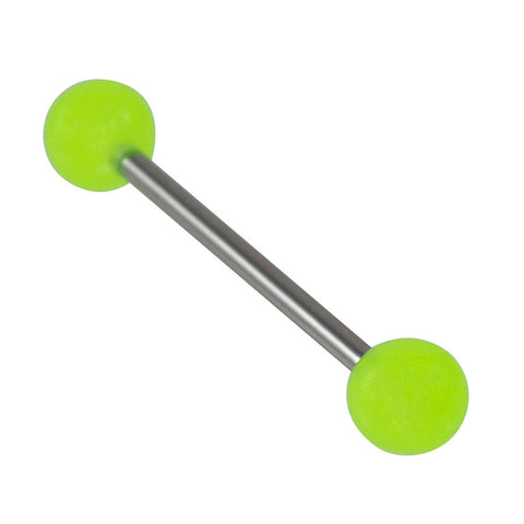 Neon Green Ball Barbell Tongue Ring