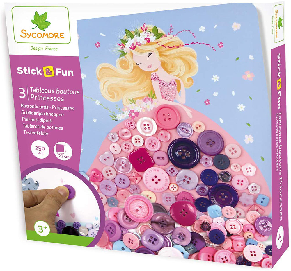 SYCOMORE - STICK'N FUN - 3 TABLEAUX BOUTONS PRINCESSES