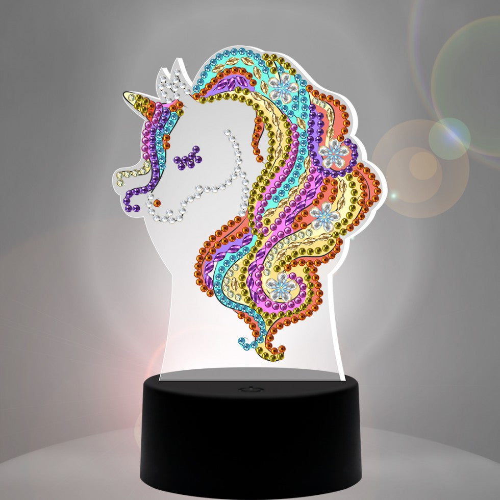 JACAROU - LAMPE TABLE DIAMANT 7 COULEURS  LICORNE