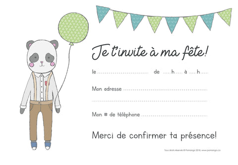 8 CARTONS D'INVITATION - PANDA