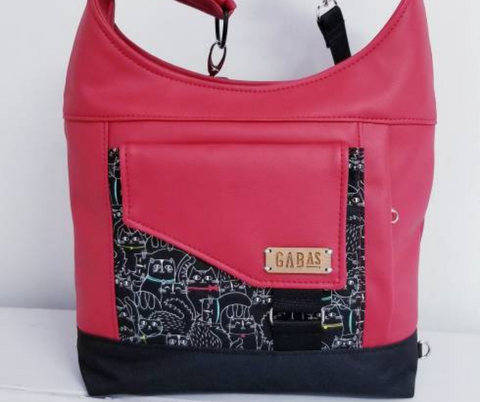 GABAS - SAC MAIN DEVILLE CHAT NOIR ROUGE