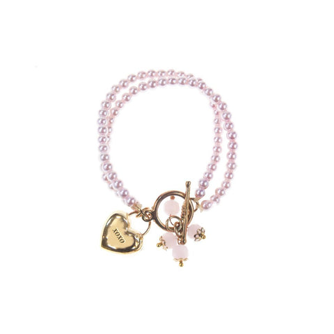 2 BRACELETS PERLE ROSE ATTACHE OR