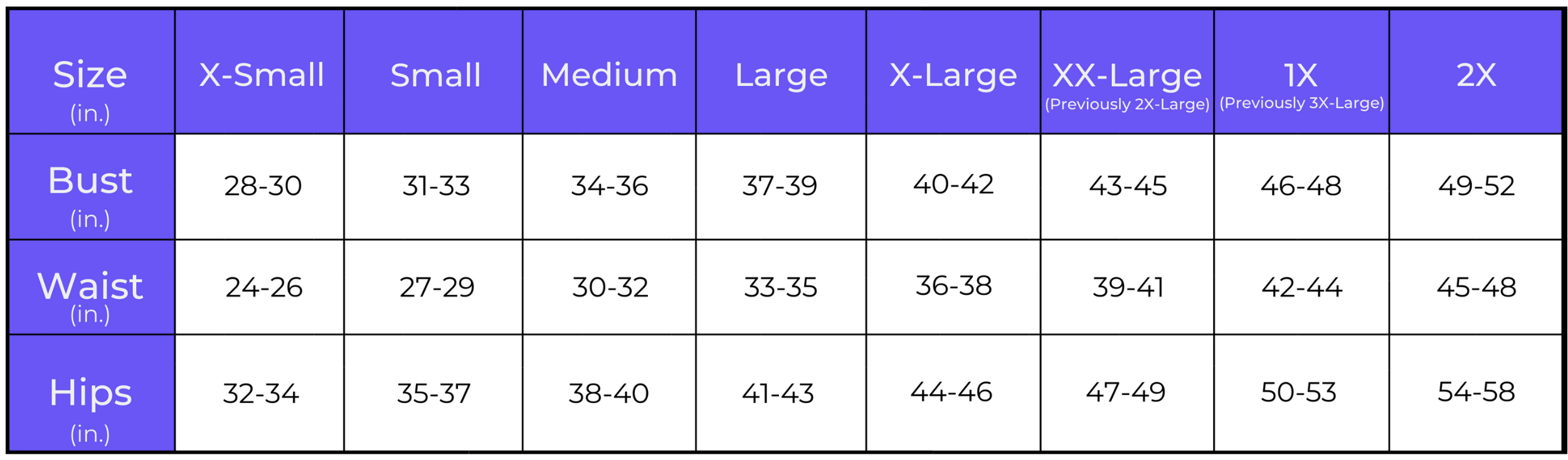 frw apparel size chart