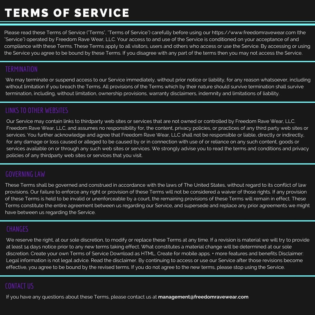 Freedom Rave Wear Terms of Service
