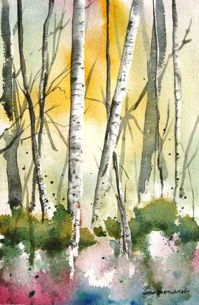 Aspen Glow - Original Watercolor Painting