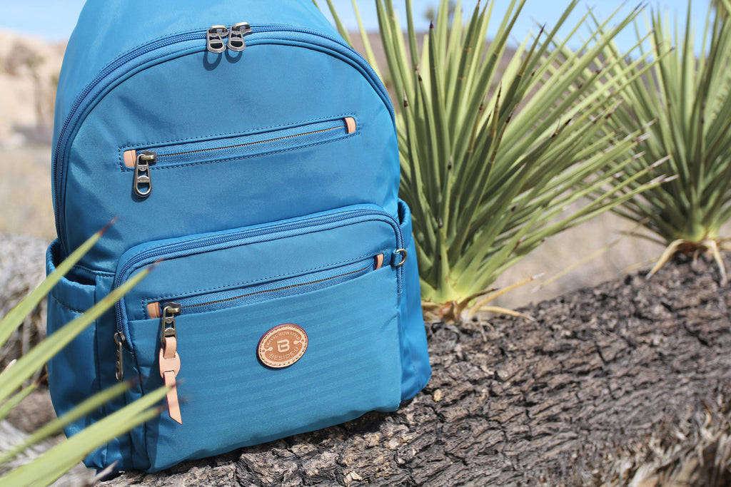 Gosford Leather Trimmed Travel Backpack RFID Cowboy Blue