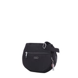 Crossbody Bag - Liv Debossed Crossbody Saddle Flap Bag Black Angled [Black]