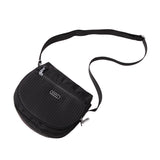 Crossbody Bag - Liv Debossed Crossbody Saddle Flap Bag Black Lying Down [Black]