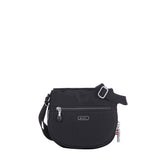 Crossbody Bag - Liv Debossed Crossbody Saddle Flap Bag Black Front [Black]