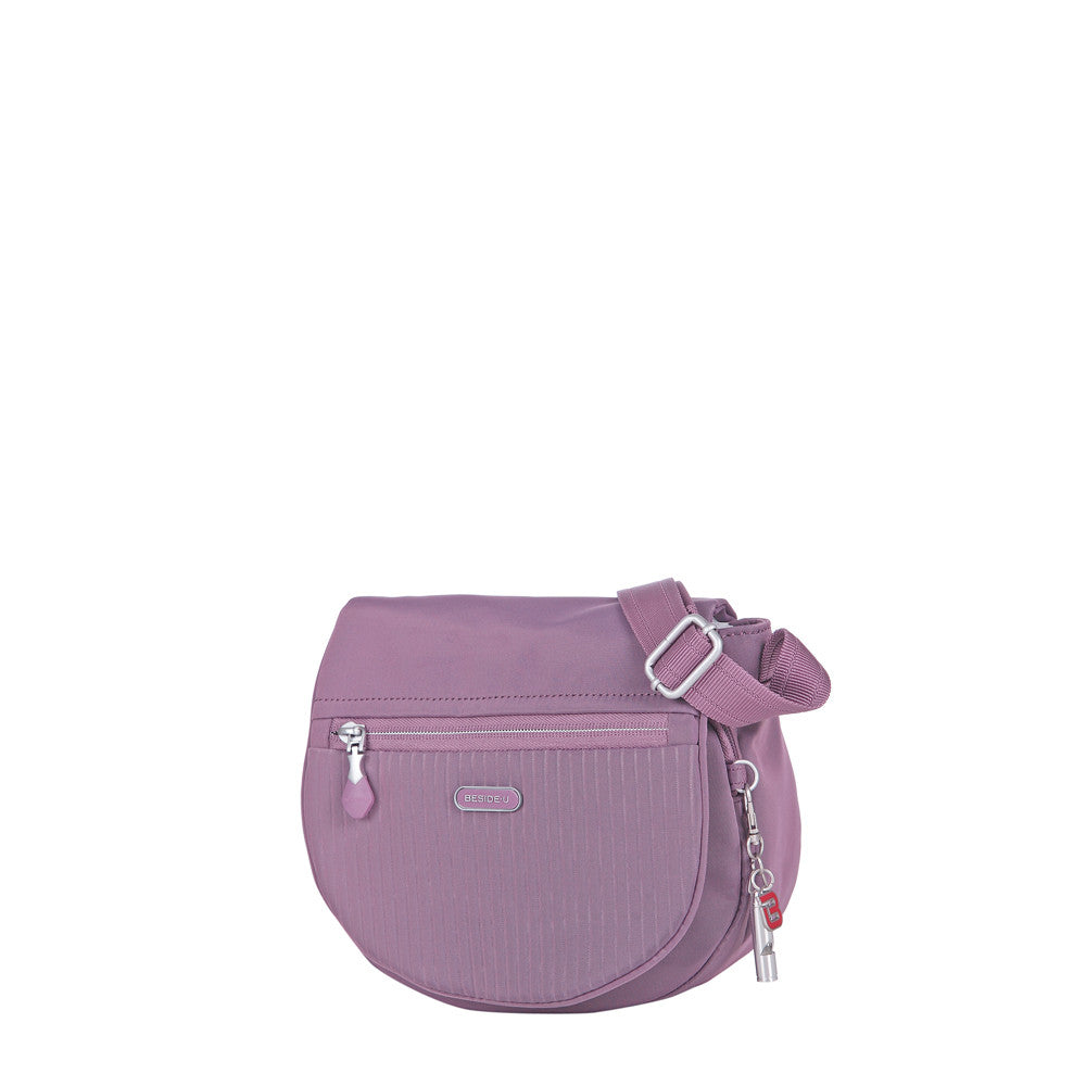 Crossbody Bag - Liv Debossed Crossbody Saddle Flap Bag Grapeade Purple Angled [Grapeade Purple]