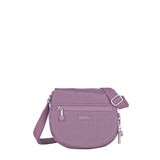 Crossbody Bag - Liv Debossed Crossbody Saddle Flap Bag Grapeade Purple Front [Grapeade Purple]