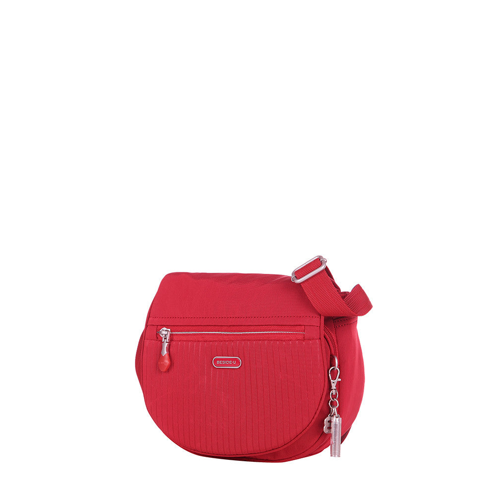 Crossbody Bag - Liv Debossed Crossbody Saddle Flap Bag Fiery Red Angled [Fiery Red]