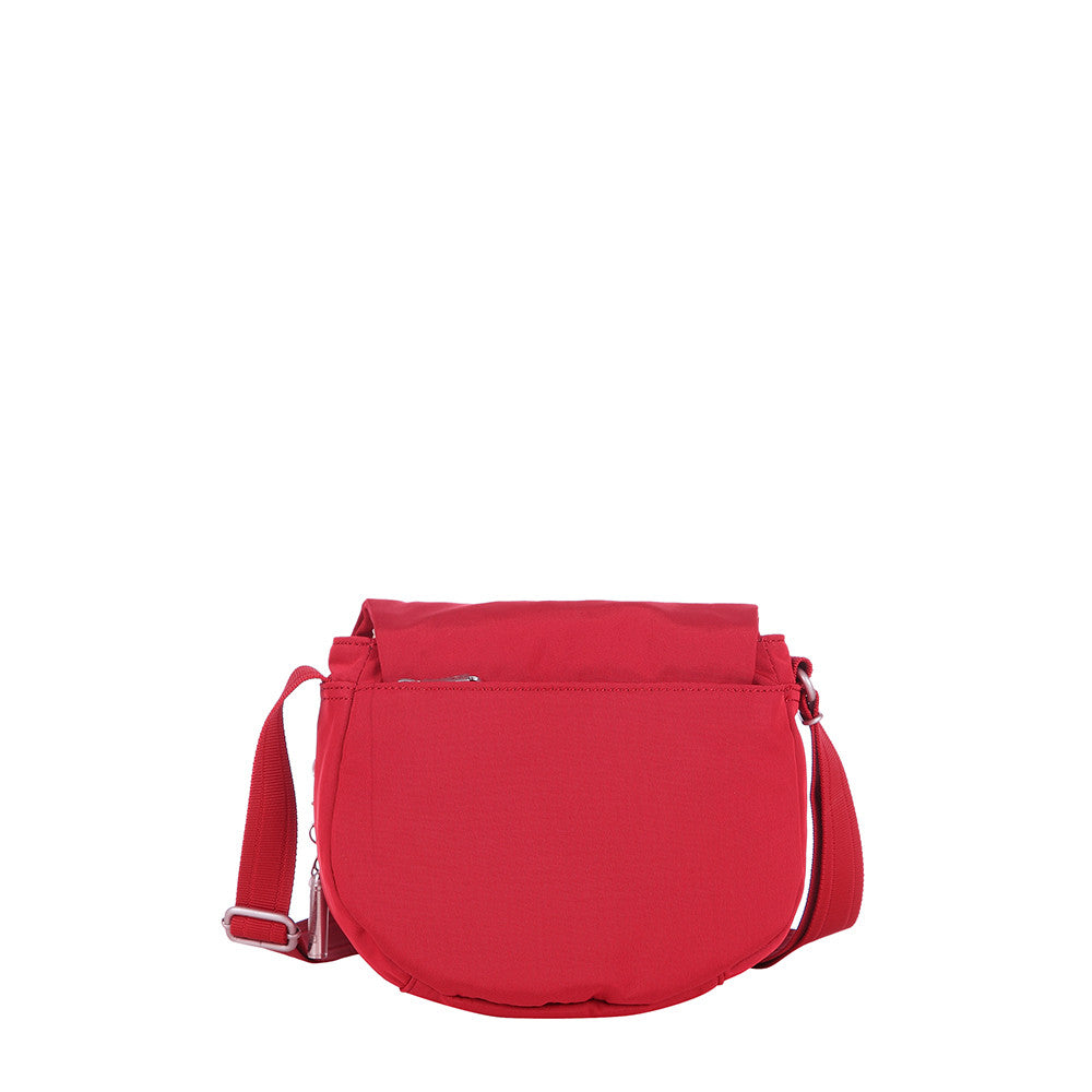 Crossbody Bag - Liv Debossed Crossbody Saddle Flap Bag Fiery Red Back [Fiery Red]