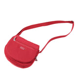 Crossbody Bag - Liv Debossed Crossbody Saddle Flap Bag Fiery Red Lying Down [Fiery Red]