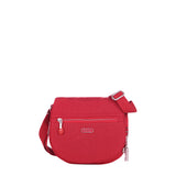 Crossbody Bag - Liv Debossed Crossbody Saddle Flap Bag Fiery Red Front [Fiery Red]