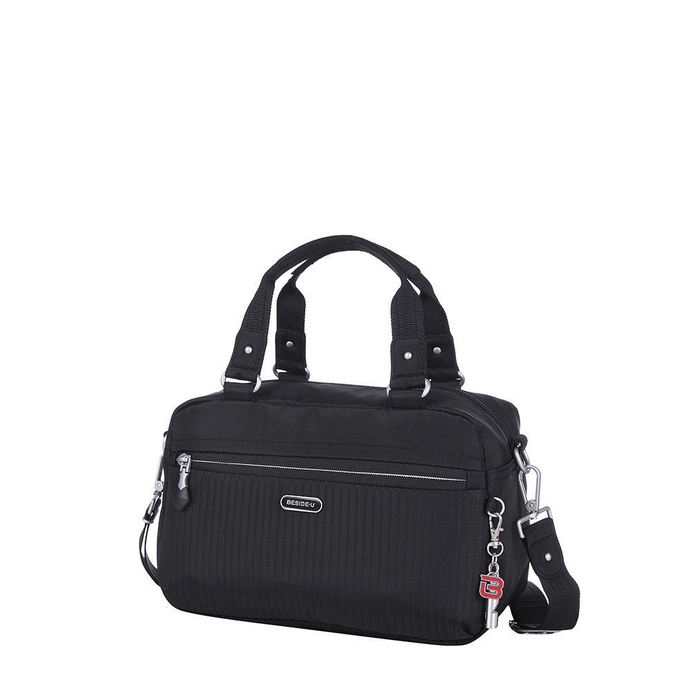 Paula Debossed Convertible Satchel Handbag Black Angled [Black]