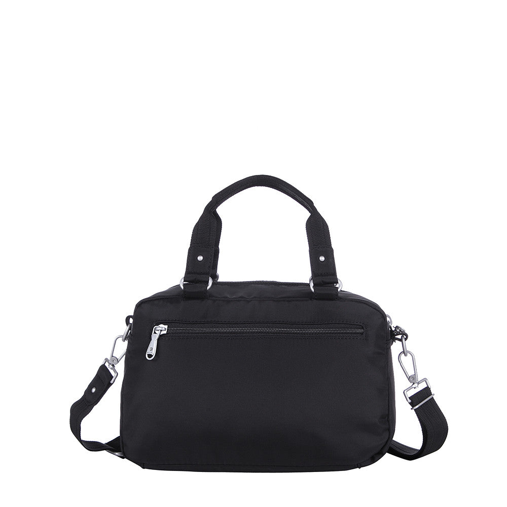 Paula Debossed Convertible Satchel Handbag Black Back [Black]