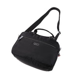 Paula Debossed Convertible Satchel Handbag Black Lying Down [Black]