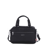 Paula Debossed Convertible Satchel Handbag Black Front [Black]