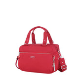Paula Debossed Convertible Satchel Handbag Fiery Red Angled [Fiery Red]