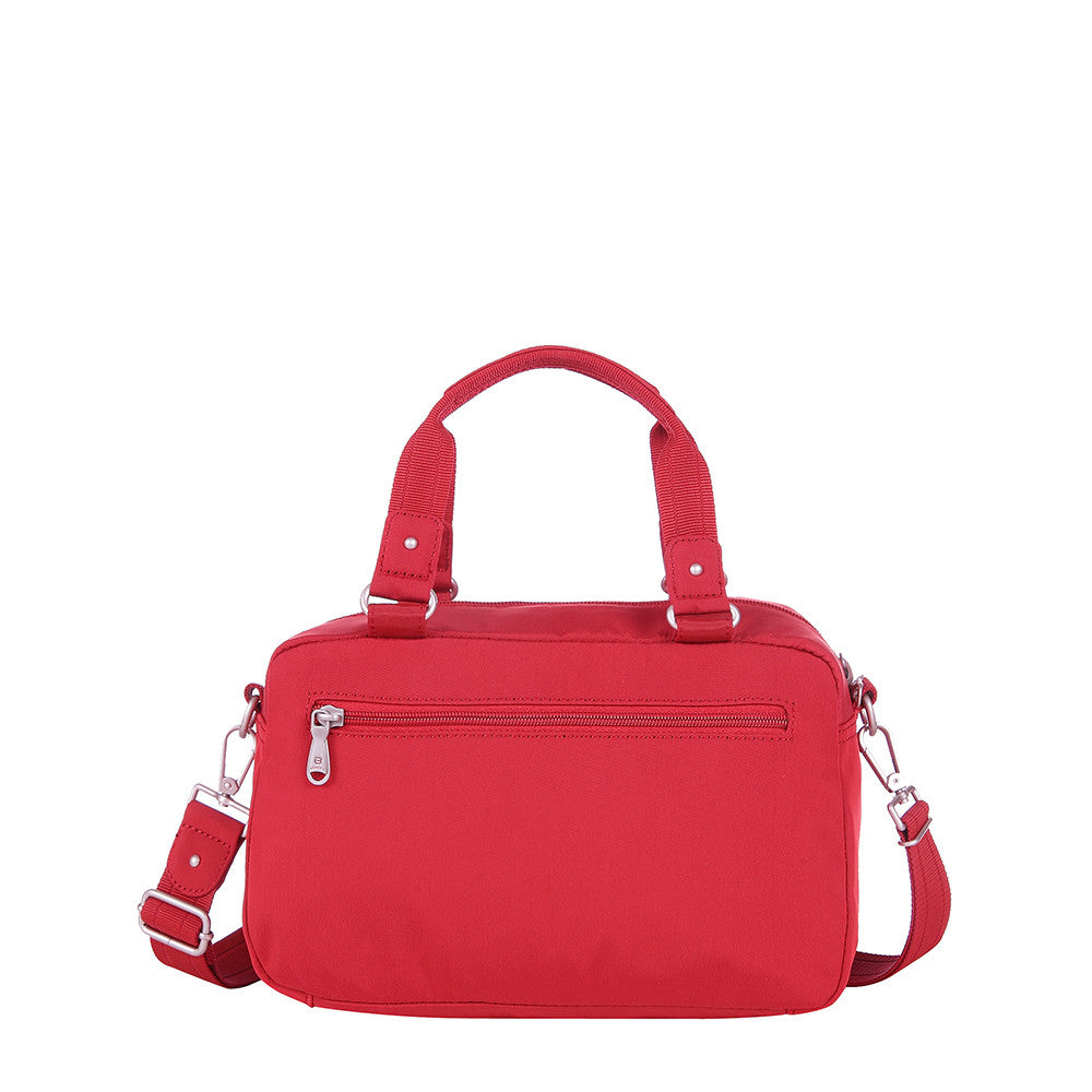 Paula Debossed Convertible Satchel Handbag Fiery Red Back [Fiery Red]