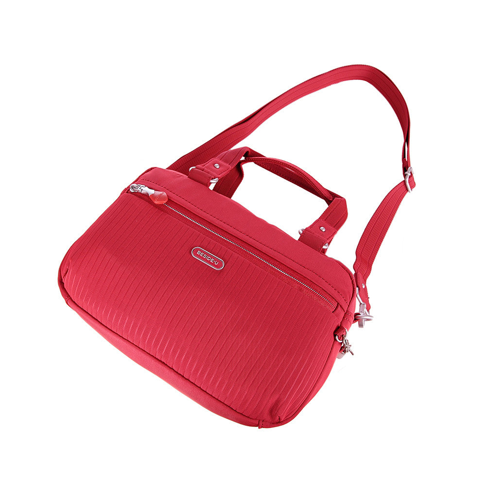 Paula Debossed Convertible Satchel Handbag Fiery Red Lying Down [Fiery Red]